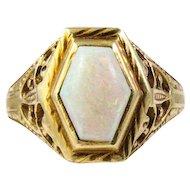 Art Deco 14k Yellow Gold Opal Ring