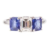 Platinum Diamond and Sapphire Engagement Ring