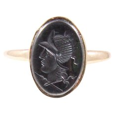 Antique 14k Yellow Gold Hematite Intaglio Ring