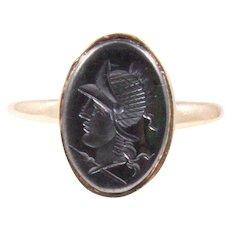 Antique 14k Yellow Gold Hematite Intaglio Ring