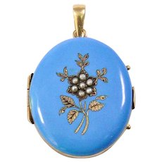 Victorian 14k Yellow Gold Enamel and Seed Pearl Locket