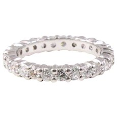 Platinum Round Diamond Prong Style Eternity Band