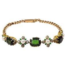 Edwardian 14k Yellow Gold Tourmaline, Pearl, and Diamond Bracelet