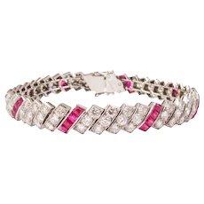 Art Deco Platinum Ruby and Diamond Bracelet