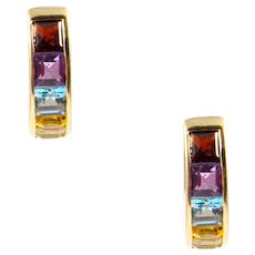 14k Yellow Gold Multi-Stone Huggy Earrings