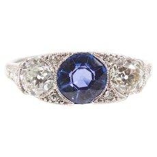 J.E. Caldwell Platinum Sapphire and Diamond Ring