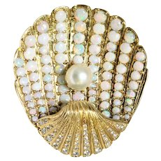 14k Yellow Opal, Diamond, and Pearl Shell Brooch