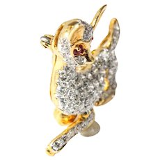 18k Yellow and White Gold Diamond and Ruby Deer Brooch