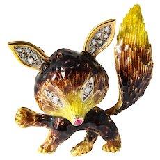 18k Yellow Gold Enamel and Diamond Fox Brooch