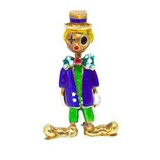 14k Yellow Gold Enamel Clown Brooch