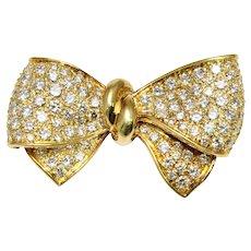 1980s 18k Yellow Gold Diamond Bow Brooch