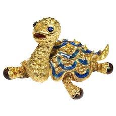 1960s 14k Yellow Gold Enamel Turtle Brooch