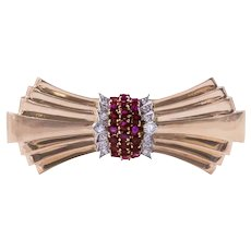 Retro Tiffany & Co. 14k Rose Gold Ruby and Diamond Brooch