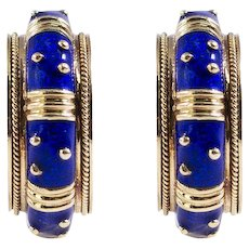 Hidalgo 18k Yellow Gold Enamel Hoop Earrings