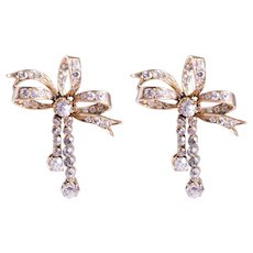 Antique 14k Yellow Gold Diamond Bow Earrings