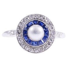 Edwardian Platinum Pearl, Sapphire, and Diamond Ring