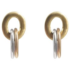 Roberto Coin 18k Yellow, White, And Rose Gold Triple Link Earrings