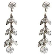 Edwardian Platinum Over Gold Diamond Earrings