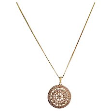 14k Yellow Gold Diamond Disc Pendant