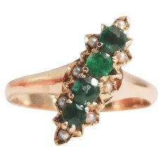 Antique 14k Rose Gold Emerald and Seed Pearl Ring