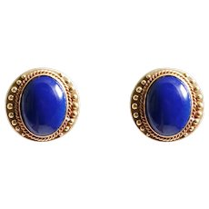 1970s 14k Yellow Gold Lapis Earrings