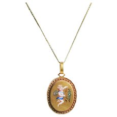 Victorian 14k Yellow Gold Diamond and Enamel Locket