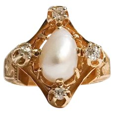 Victorian 14k Yellow Gold Pearl and Diamond Ring
