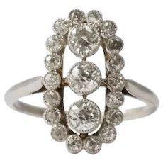 Edwardian Platinum Cluster Style Bezel Set Old Mine Cut Diamond Ring