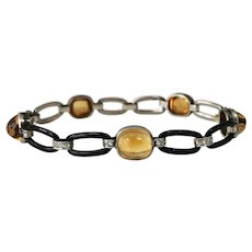 Edwardian 18k White Gold Citrine, Diamond, And Enamel Bracelet