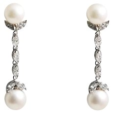 Mid Century Platinum Pearl and Diamond Earrings