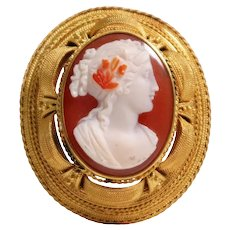 Etruscan Revival 14k Yellow Gold Hard Stone Cameo