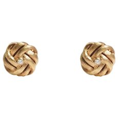 Mid-Century 14k Yellow Gold Diamond Knot Earrings