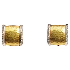 Chimento 18k Hammered Yellow And White Gold Diamond Earrings