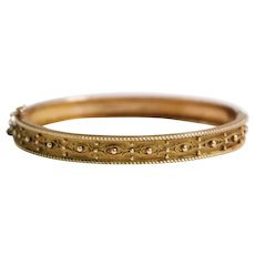 Victorian 9k Yellow Gold Bangle Bracelet