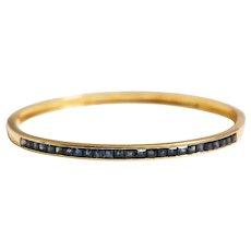 14k Yellow Gold Sapphire Bangle Bracelet