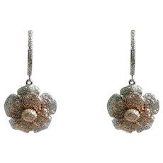 14k White And Rose Gold Flower Diamond Drop Earrings