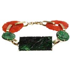 Art Deco 14k Yellow Gold Jade and Carnelian Bracelet