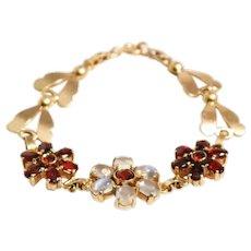 Retro Wab 14k Yellow Gold Moonstone and Garnet Bracelet
