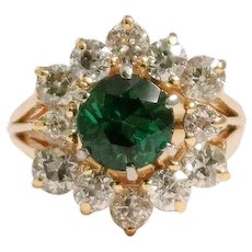 18k Yellow Gold Tourmaline And Diamond Ring
