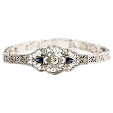 Art Deco 14k White Gold and Platinum Diamond and Sapphire Bracelet