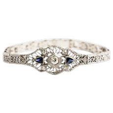 Art Deco 14k White Gold and Platinum Diamond and Sapphire Bracelet