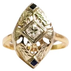 Art Deco 14k Yellow and White Gold Diamond and Sapphire Ring