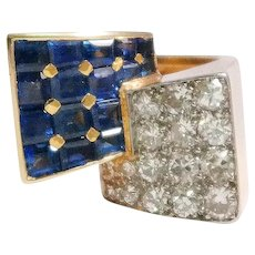 French Retro 18k Yellow Gold Sapphire and Diamond Ring