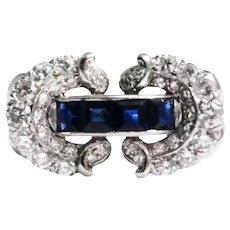 Retro Platinum Sapphire And Diamond Ring