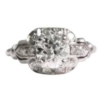Art Deco Platinum Diamond Engagement Ring