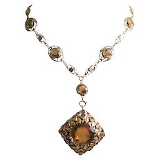 Art Nouveau 14k Yellow Gold Citrine Pendant Necklace