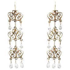 14k Yellow Gold Diamond Chandelier Earrings