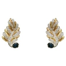 18k Yellow and White Gold Sapphire and Diamond Earrings