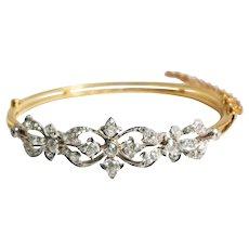 Edwardian Platinum and Gold Diamond Bangle Bracelet