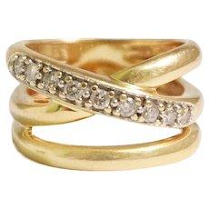 14k Yellow Gold Interlock Diamond Band
